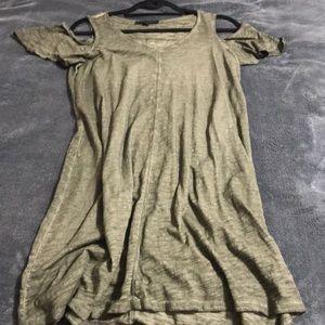 Sanctuary Olive Cold Shoulder T-shirt Dress